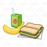 Lunch box banana and. Sandwich clipart juice