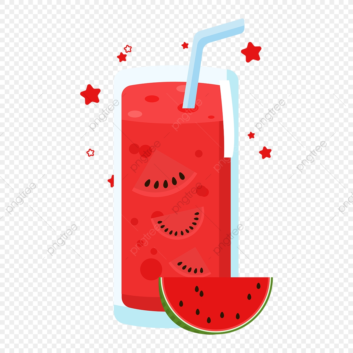 Red cartoon hand painted. Watermelon clipart juices