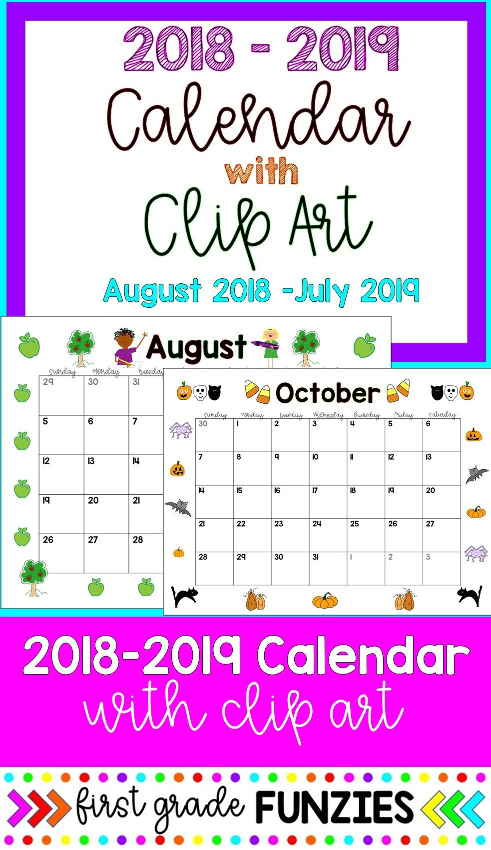Editable monthly calendars color. July clipart 12 month