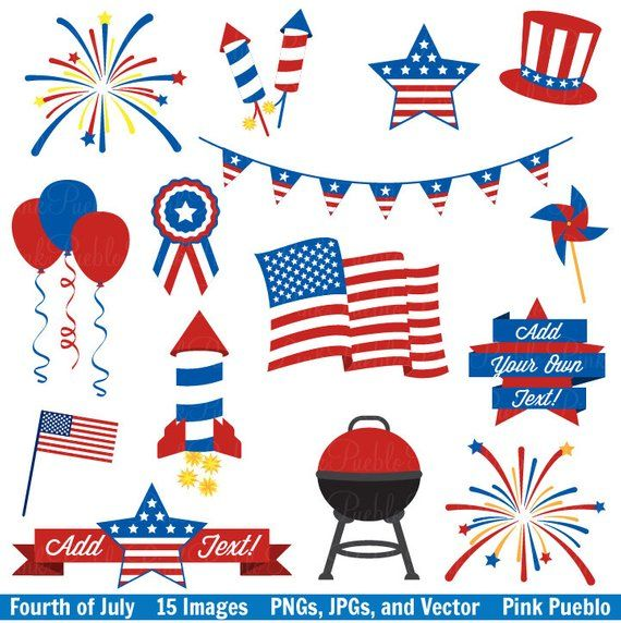 July clipart decoration. Fourth of clip art