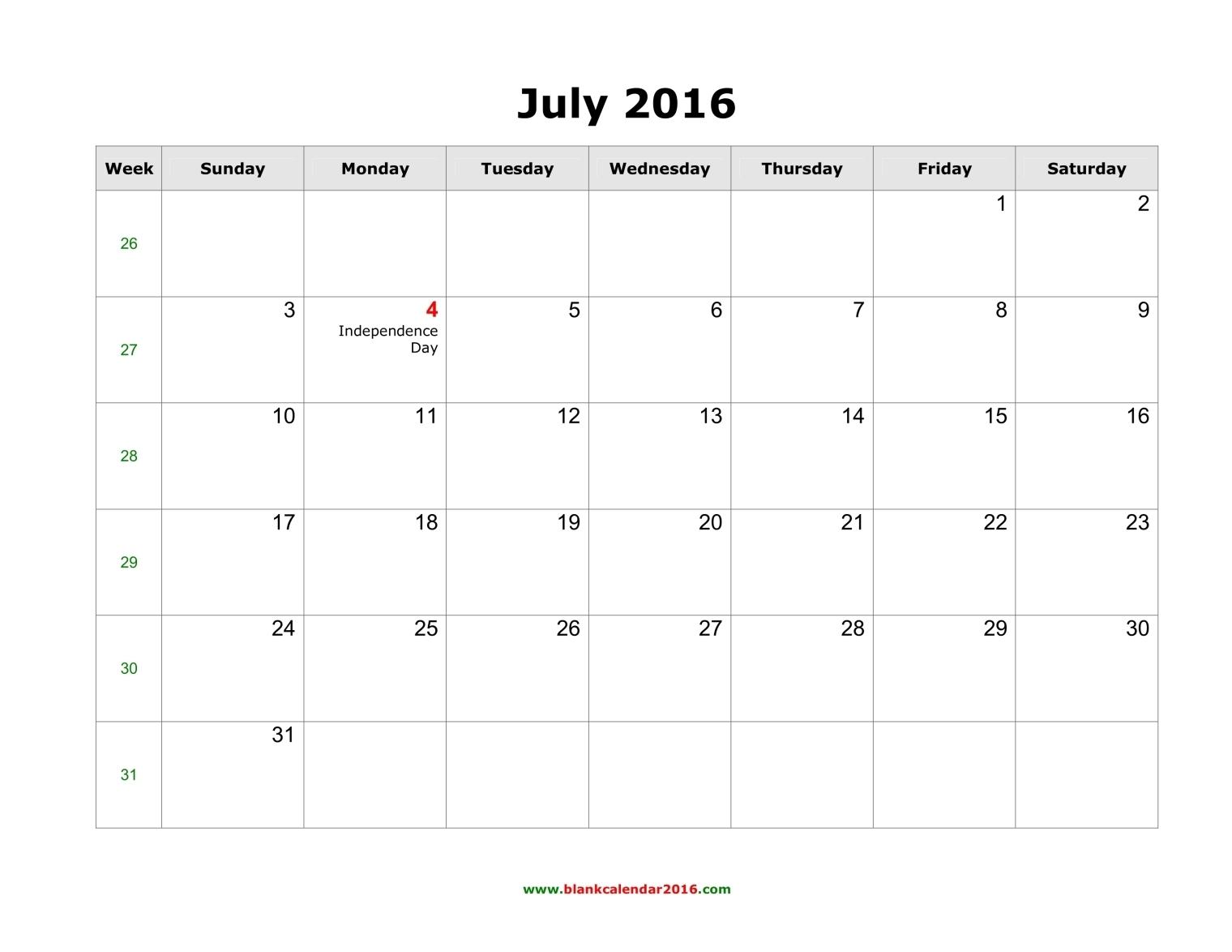 Printable calendar . July clipart july 2016