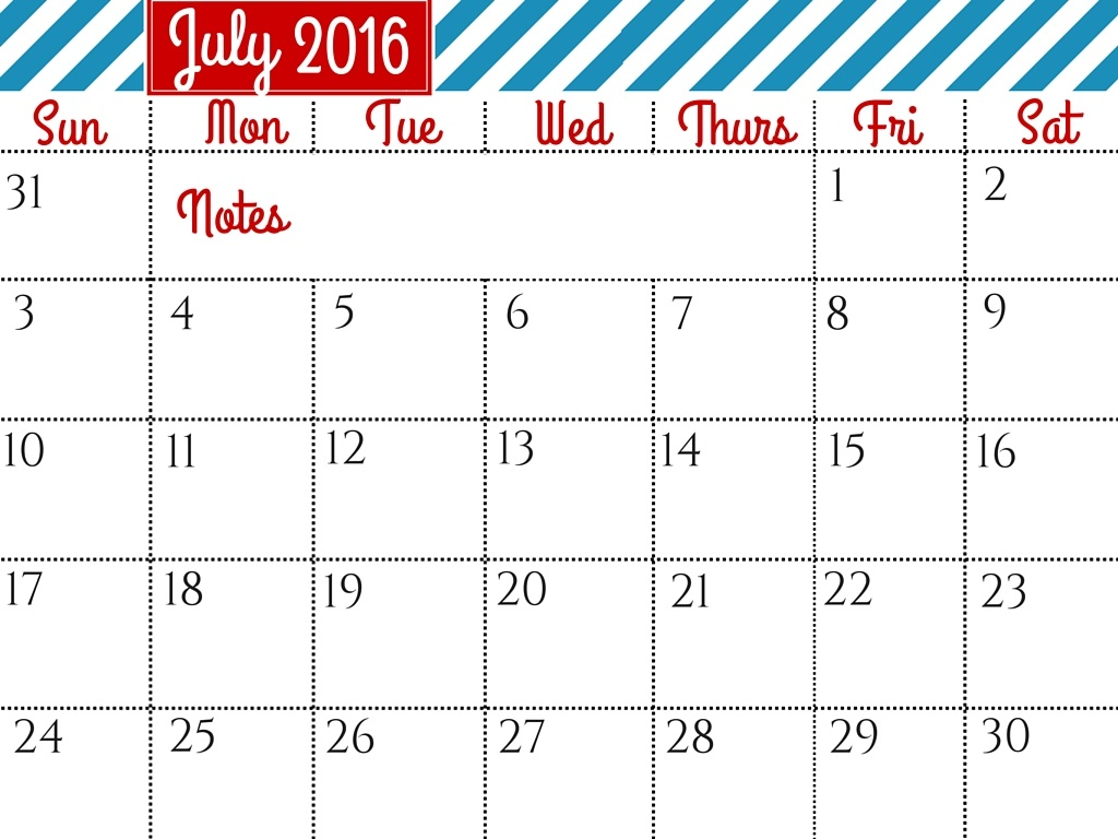 July clipart july 2016. Calendar cute