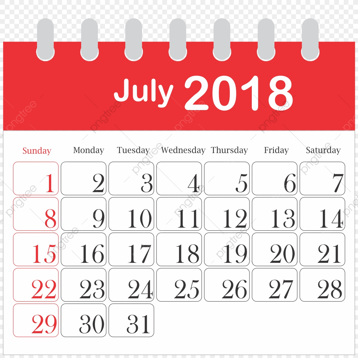 July clipart july 2018. Month calendar icon daily