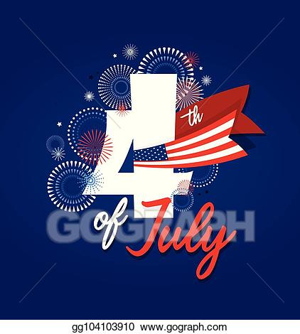 July clipart patriotic symbol. Vector art th fireworks