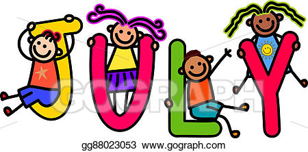 July clipart word july. Stock illustration kids illustrations