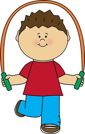 Boy playing with jump. Jumping clipart