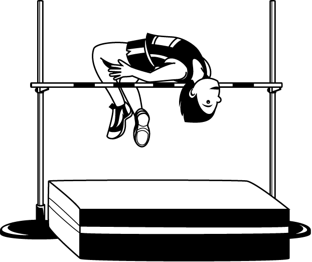 High jump track field. Jumping clipart black and white