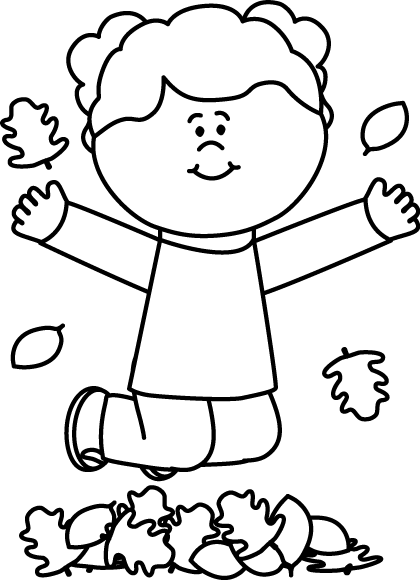 Girl in leaves halloween. Jumping clipart black and white