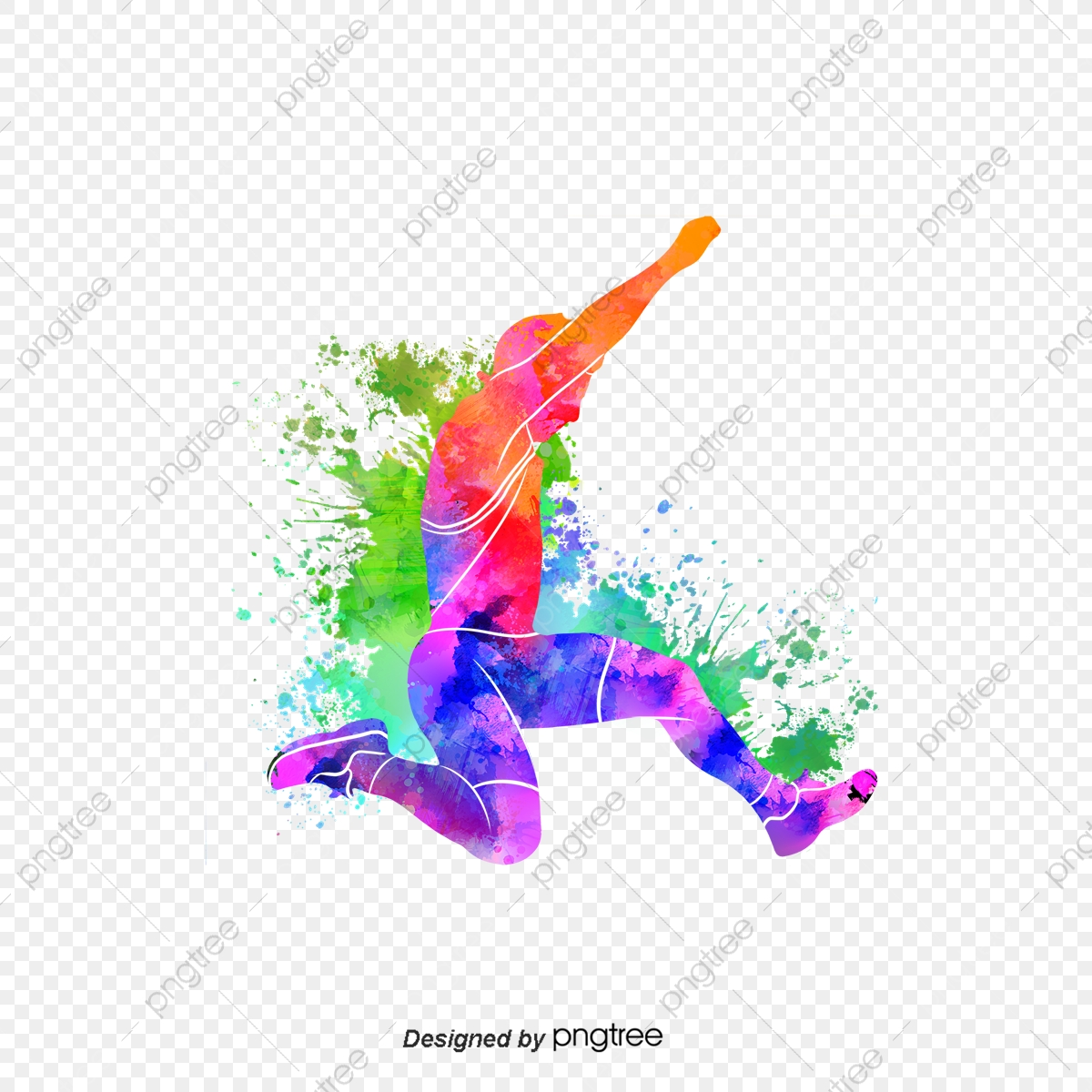 Jump clipart long jumper. Silhouettes of creative colorful
