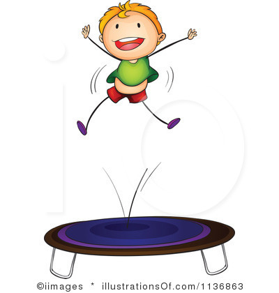 On trampoline . Jumping clipart