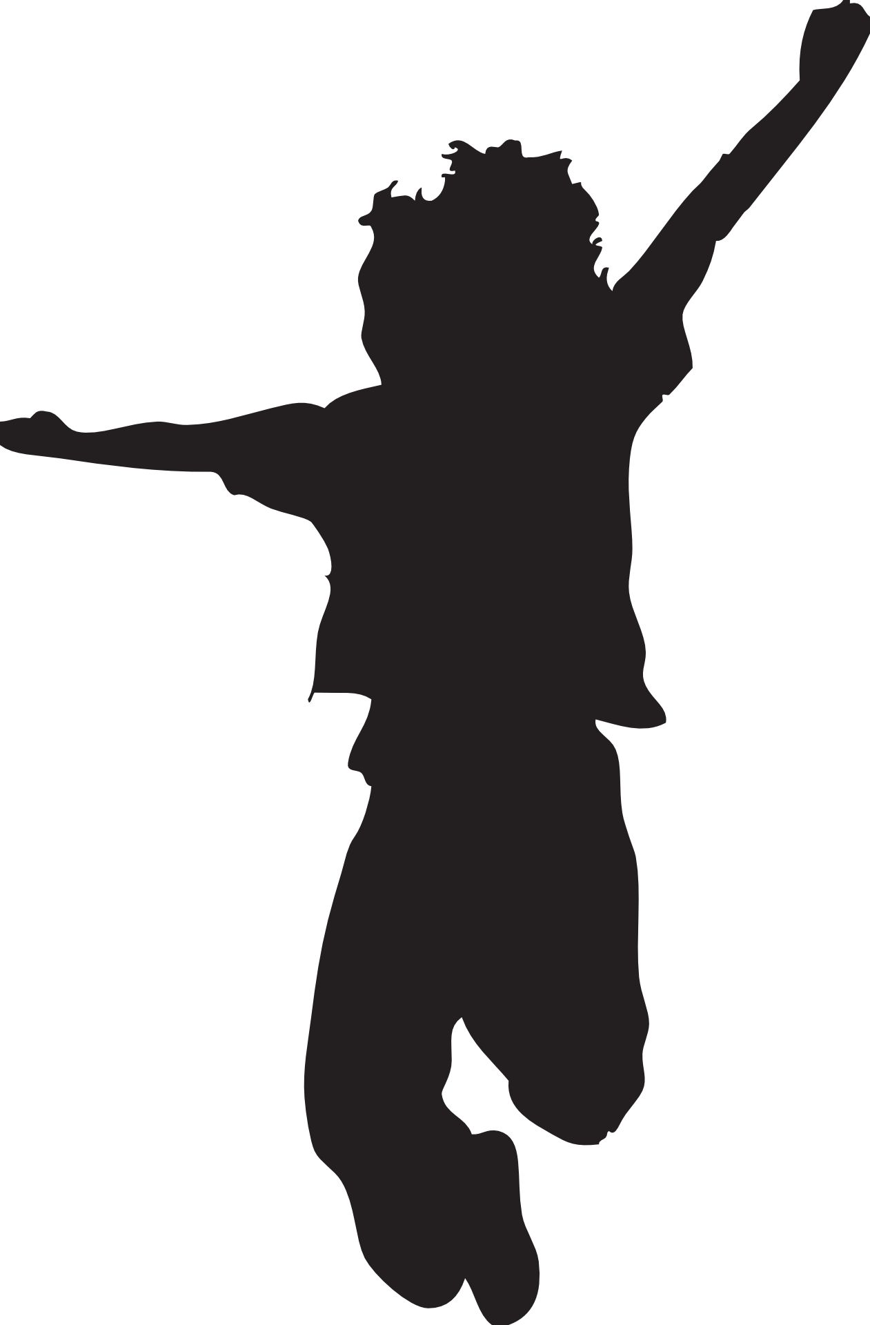 Jumping clipart. Silhouette kid daven s