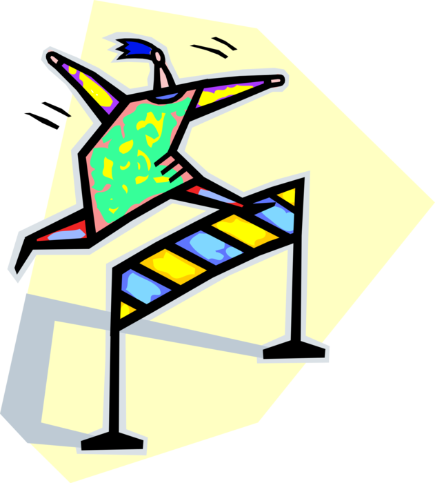 Jumping clipart athletic meet. Track hurdler jumps hurdles