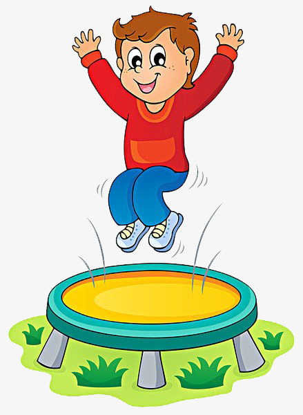 Child trampoline happy png. Jumping clipart