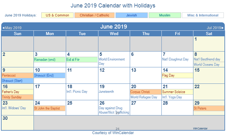 Calendar with holidays lacalabaza. June clipart june holiday