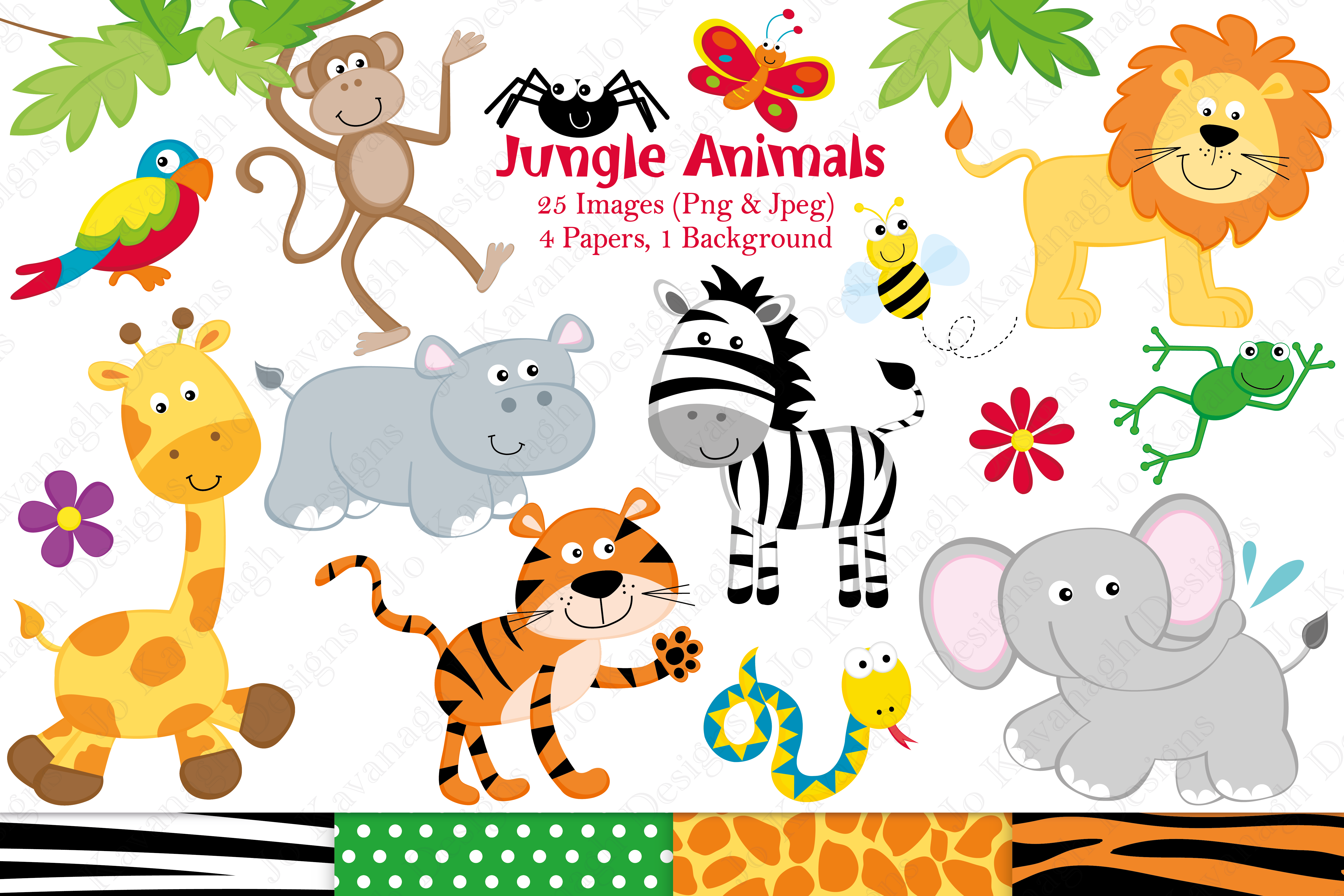 Jungle clipart. Graphics illus design bundles