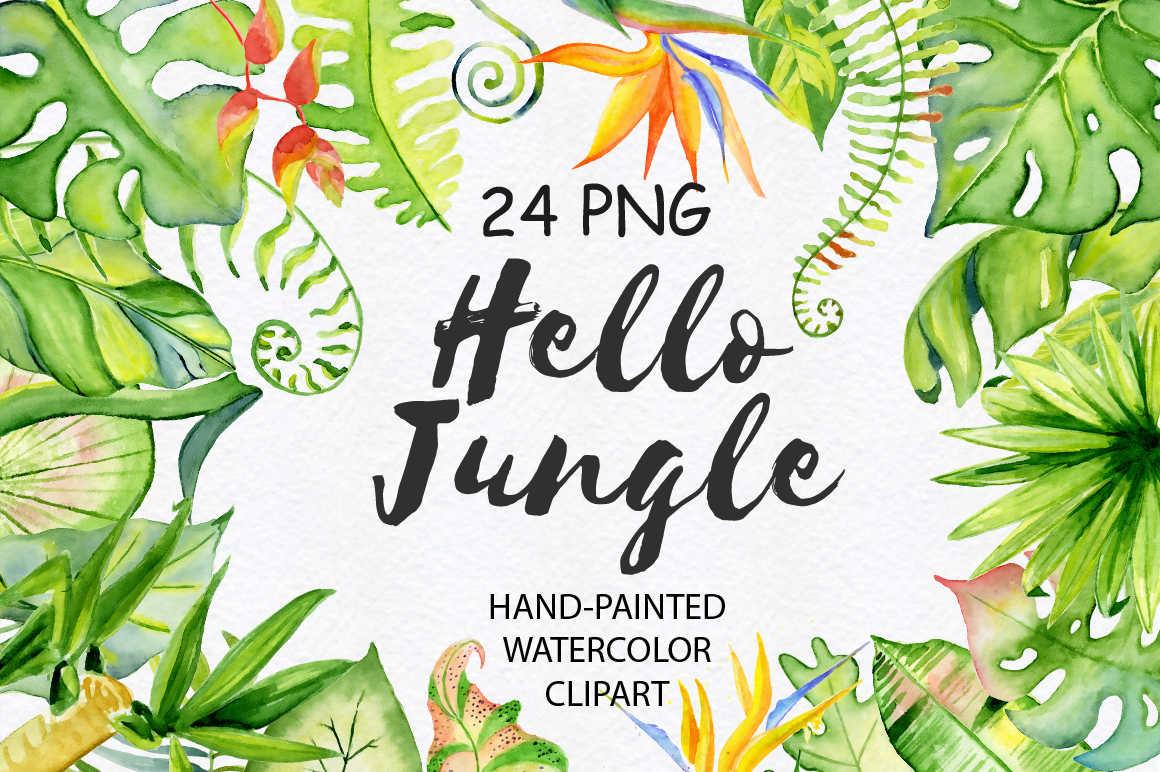 Jungle clipart. Tropical leaves watercolor by