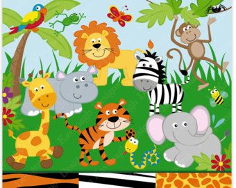 Jungle clipart. Animals and digital paper