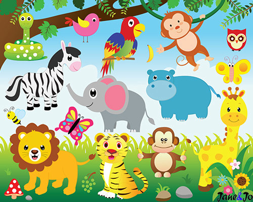 Animals and digital paper. Jungle clipart