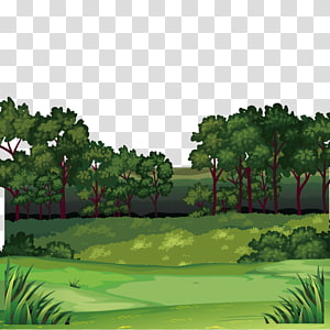Tree and mountain illustration. Jungle clipart field