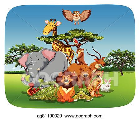 Vector art animals drawing. Jungle clipart field