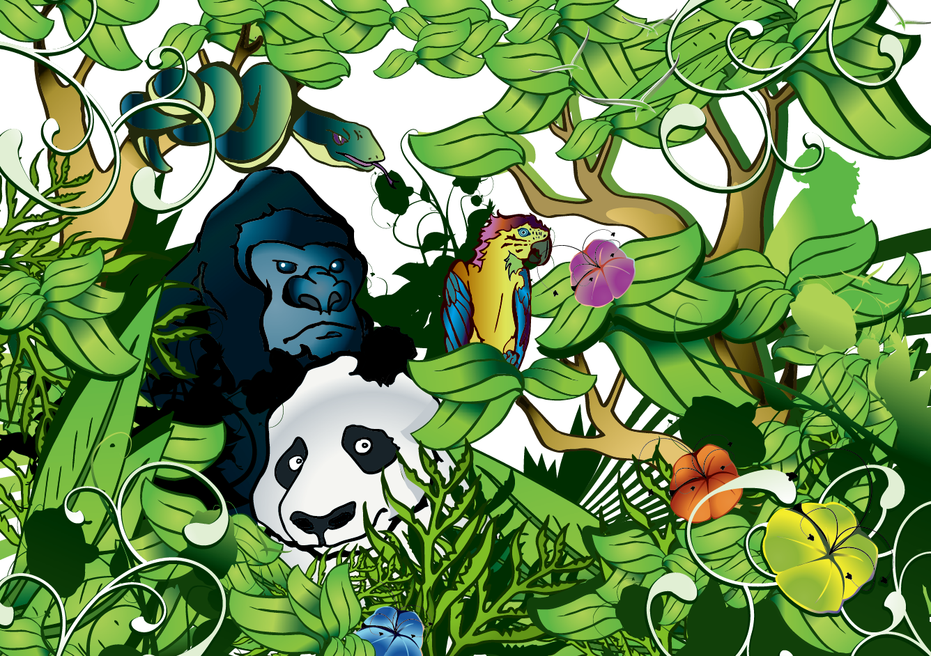 Giant panda forest animal. Jungle clipart flora and fauna