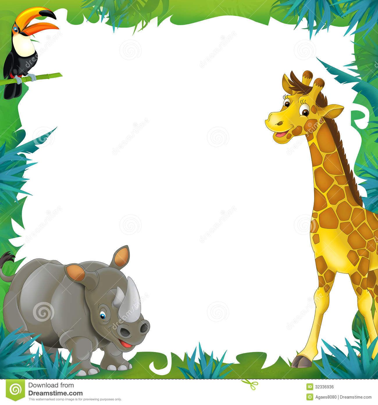Cartoon safari frame border. Jungle clipart powerpoint