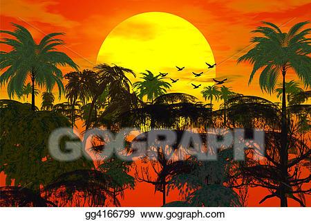 Sunset clipart jungle. Stock illustration over clip