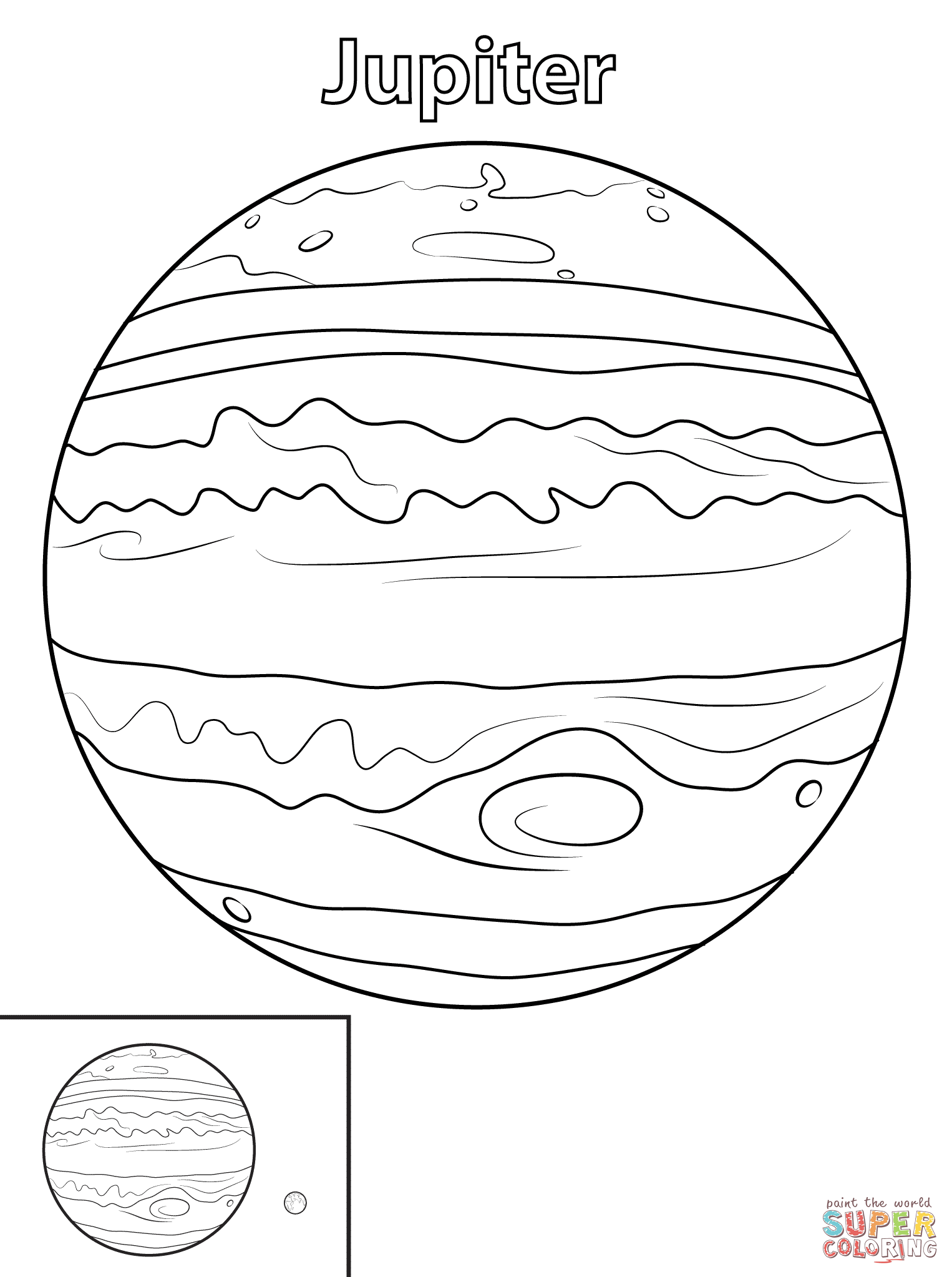 Planet coloring page free. Jupiter clipart color