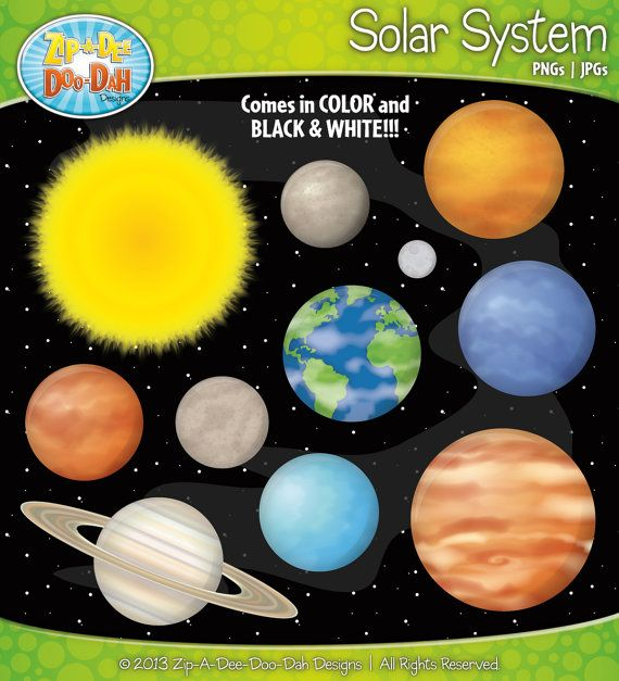 Solar system and planets. Jupiter clipart color