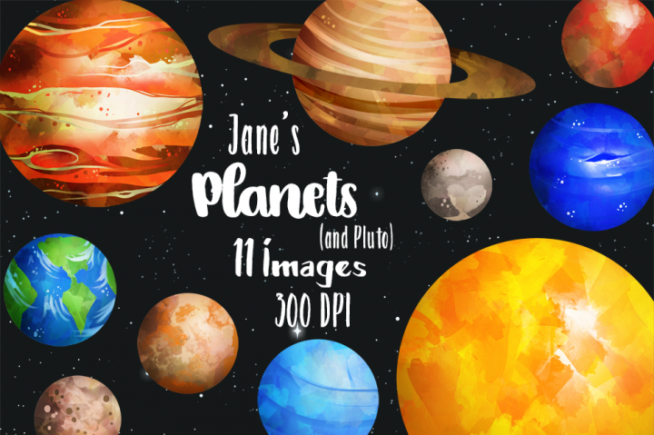Watercolor planets earth neptune. Jupiter clipart mercury