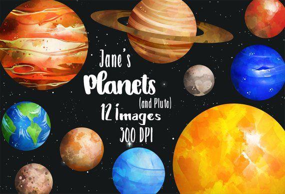 Watercolor planets solar system. Planeten clipart pluto planet