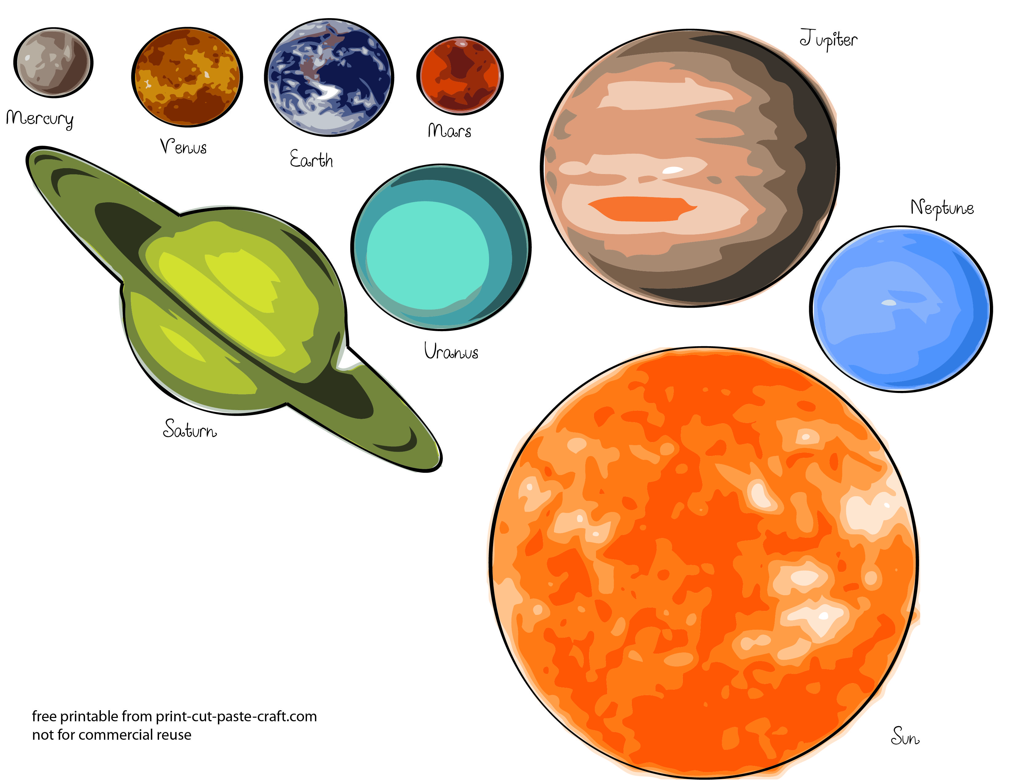 Free printables planets printable. Planeten clipart toddler