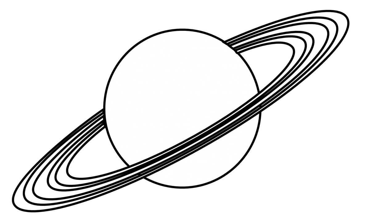 Planet clipart print. Saturn earth black and