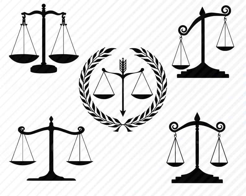 Scales of files bundle. Justice clipart svg