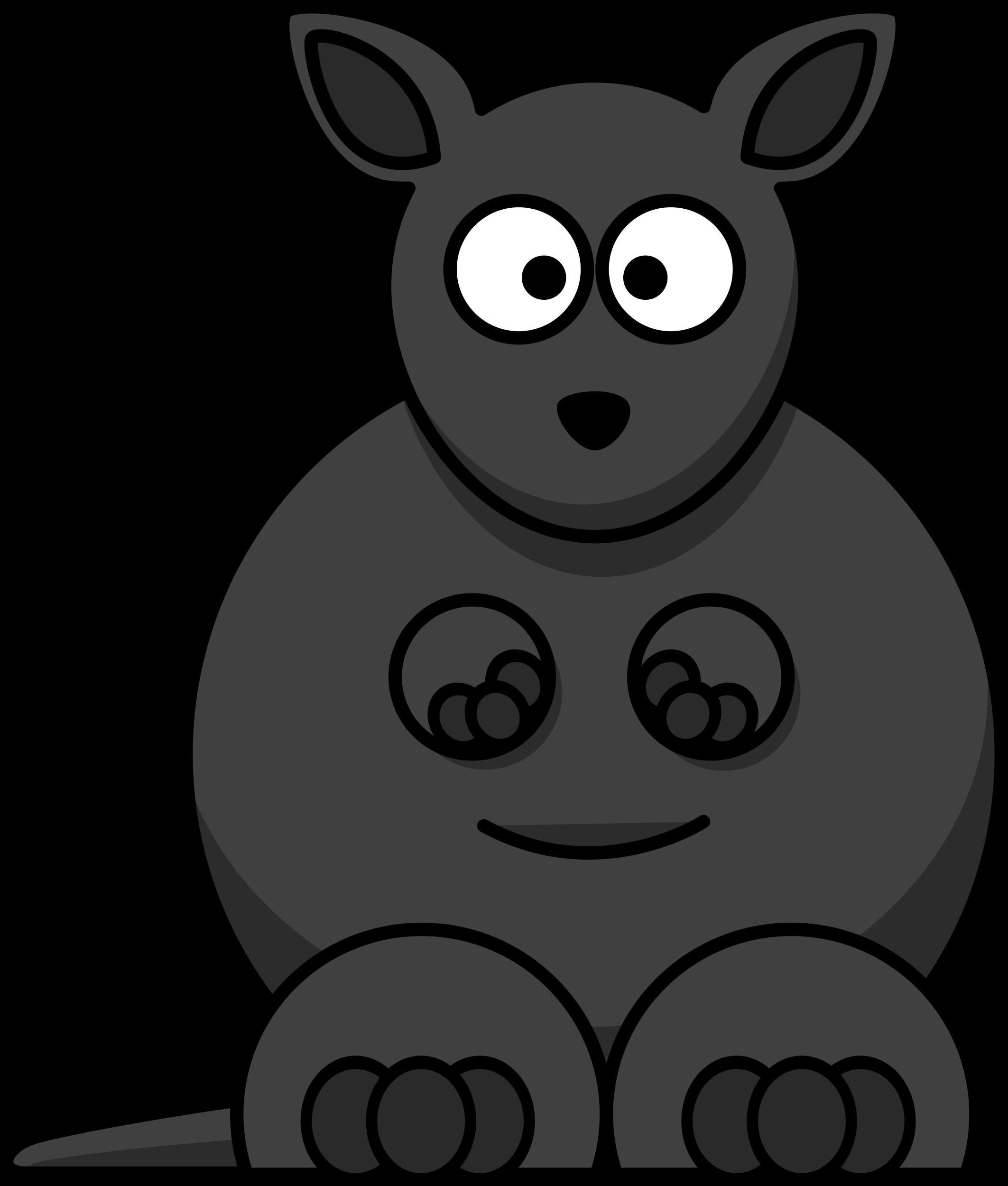 Cartoon clipartblack com animal. Kangaroo clipart black and white