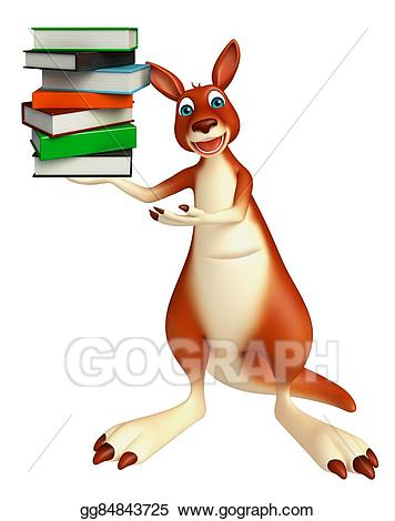 Stock illustration cute with. Kangaroo clipart cartoon character