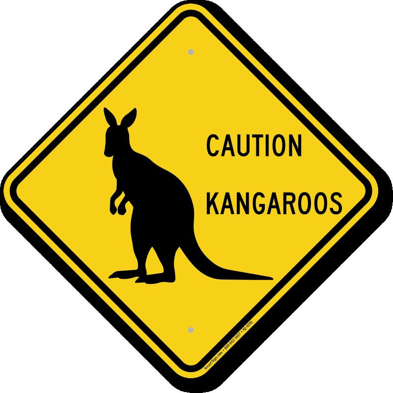 Caution kangaroos crossing sign. Kangaroo clipart cool