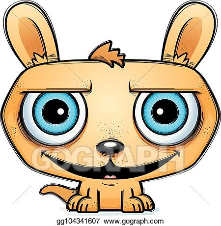 Eps vector little stock. Kangaroo clipart happy cartoon