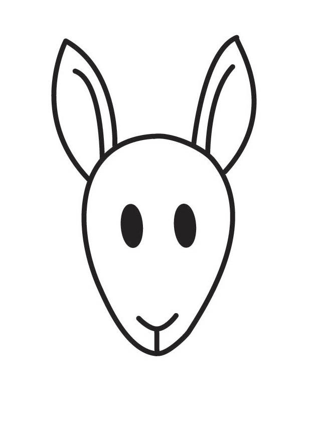 Coloring page img clip. Kangaroo clipart head