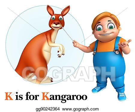 Kangaroo clipart kid. Boy pointing stock illustration