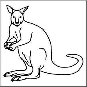 Clip b w i. Kangaroo clipart line art