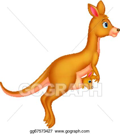 Kangaroo clipart mother kangaroo. Vector and baby cartoon