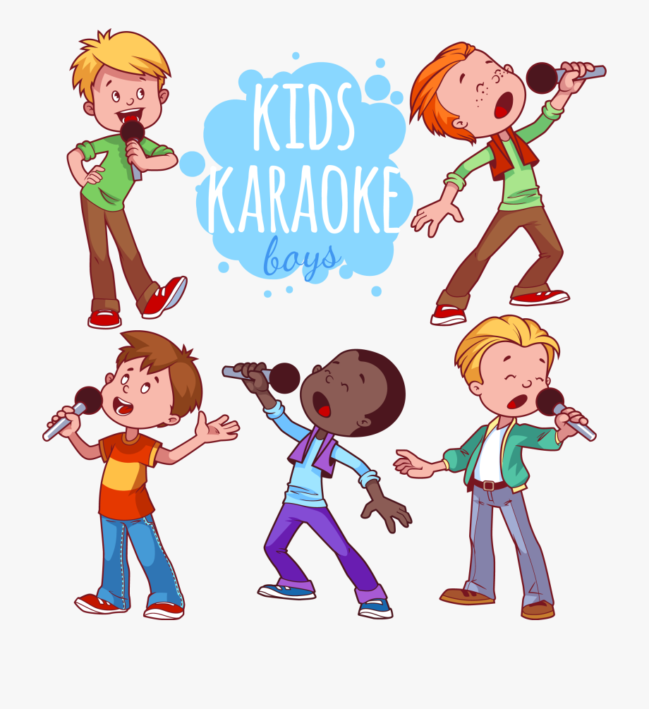 Poetry clipart child. Microphone karaoke children performing