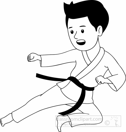 Free download clip art. Karate clipart black and white