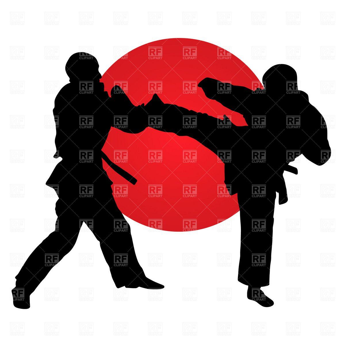 Karate clipart border. Fighters vector image illustration