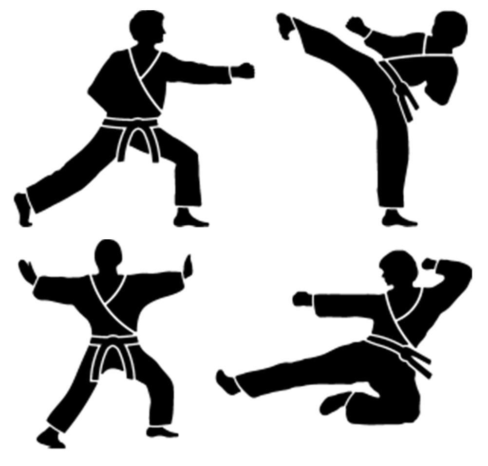 Karate clipart border. Martial artist silhouette stencils