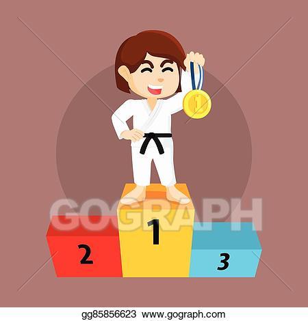 Eps illustration girl gets. Karate clipart medal