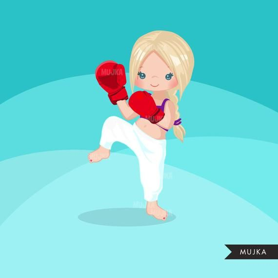 Kickboxing girl chic characters. Karate clipart medal