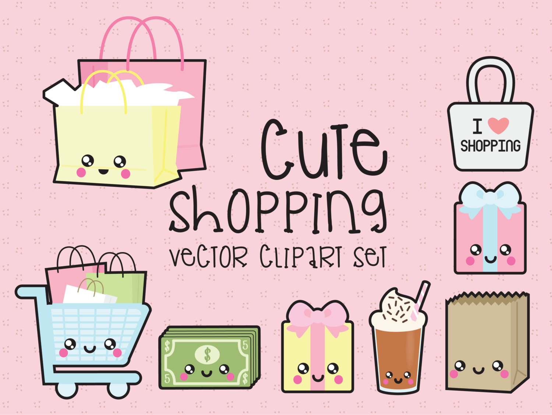 Premium vector shopping . Kawaii clipart