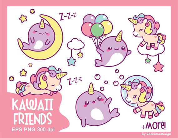 Kawaii clipart. Unicorn cute clip art